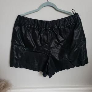 Forever 21 Faux Leather scalloped shorts